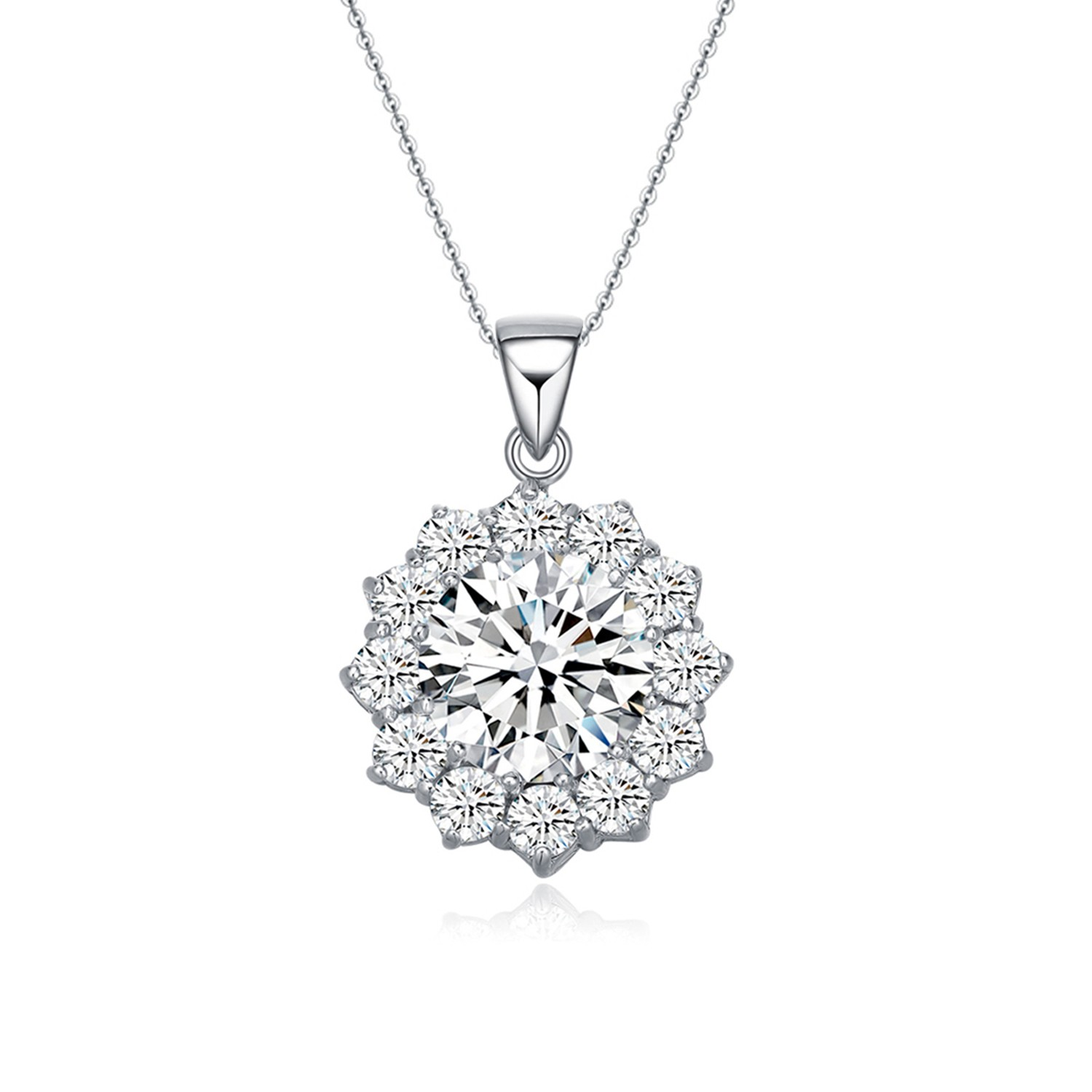Women Jewelry 925 Sterling Cubic Zirconia flower Pendant Necklace