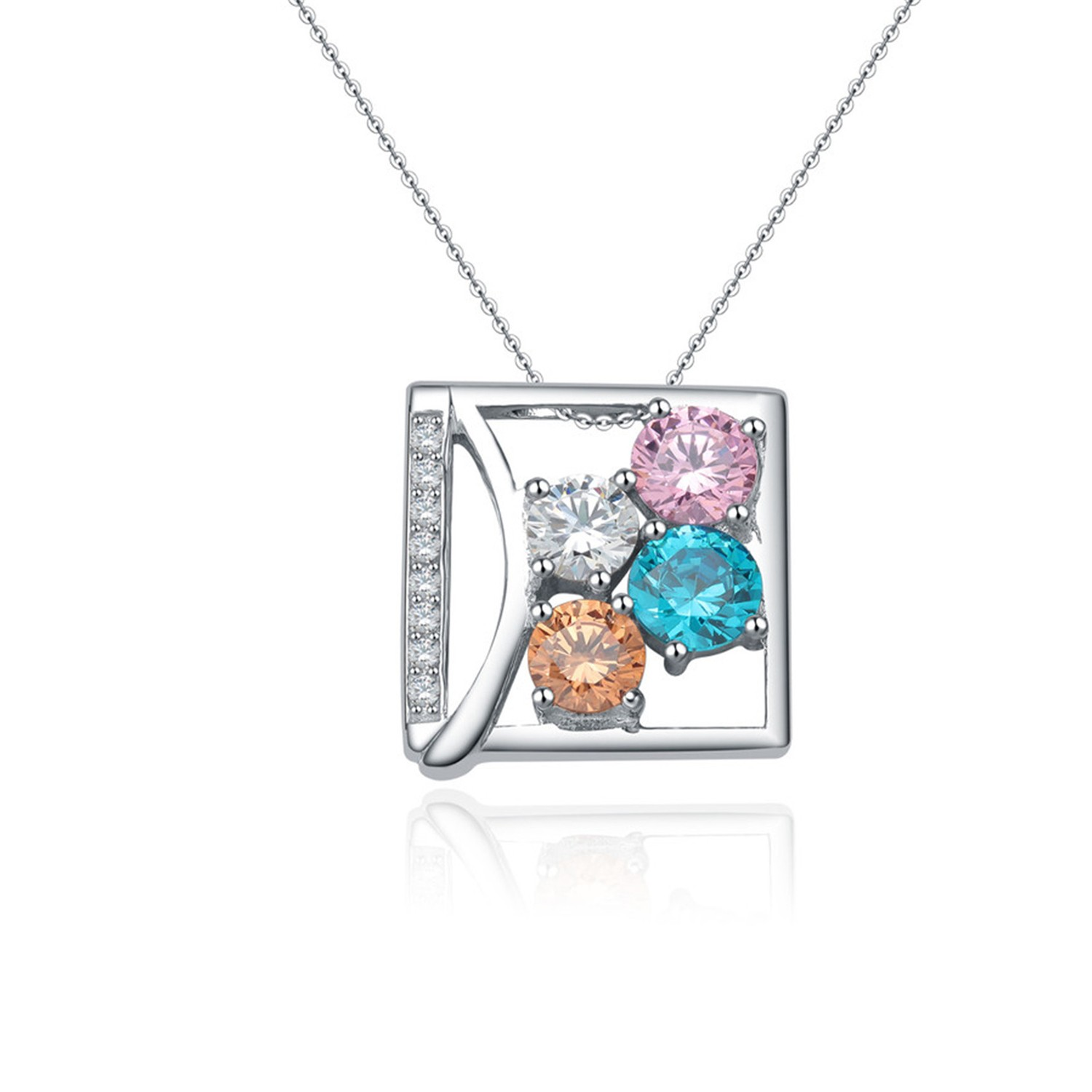 Square Colorful Cubic Zirconia Pendant Necklace 925 Sterling Silver Charming silver Necklace Jewelry