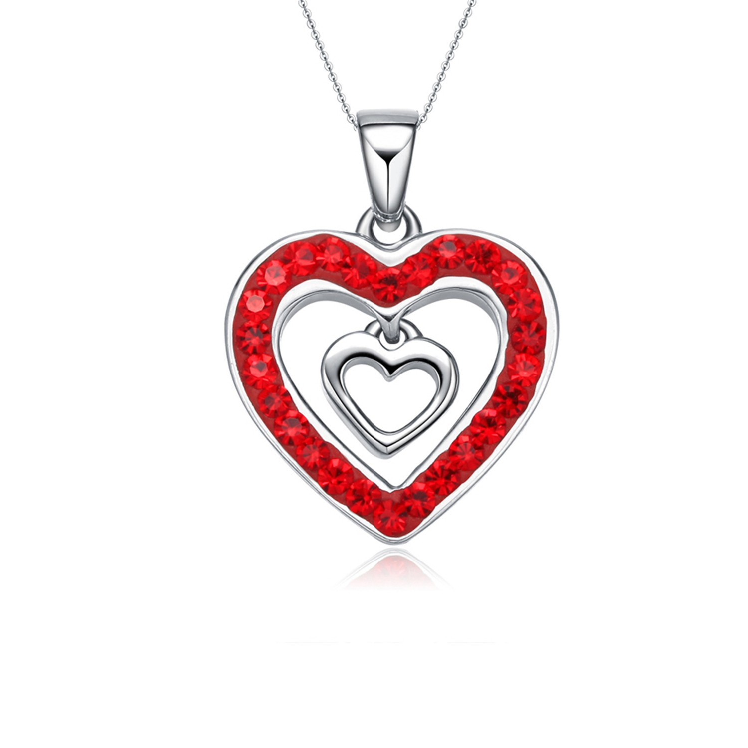 Women Jewelry Red Cubic Zirconia Love Heart Pendant Necklace 925 Sterling Silver
