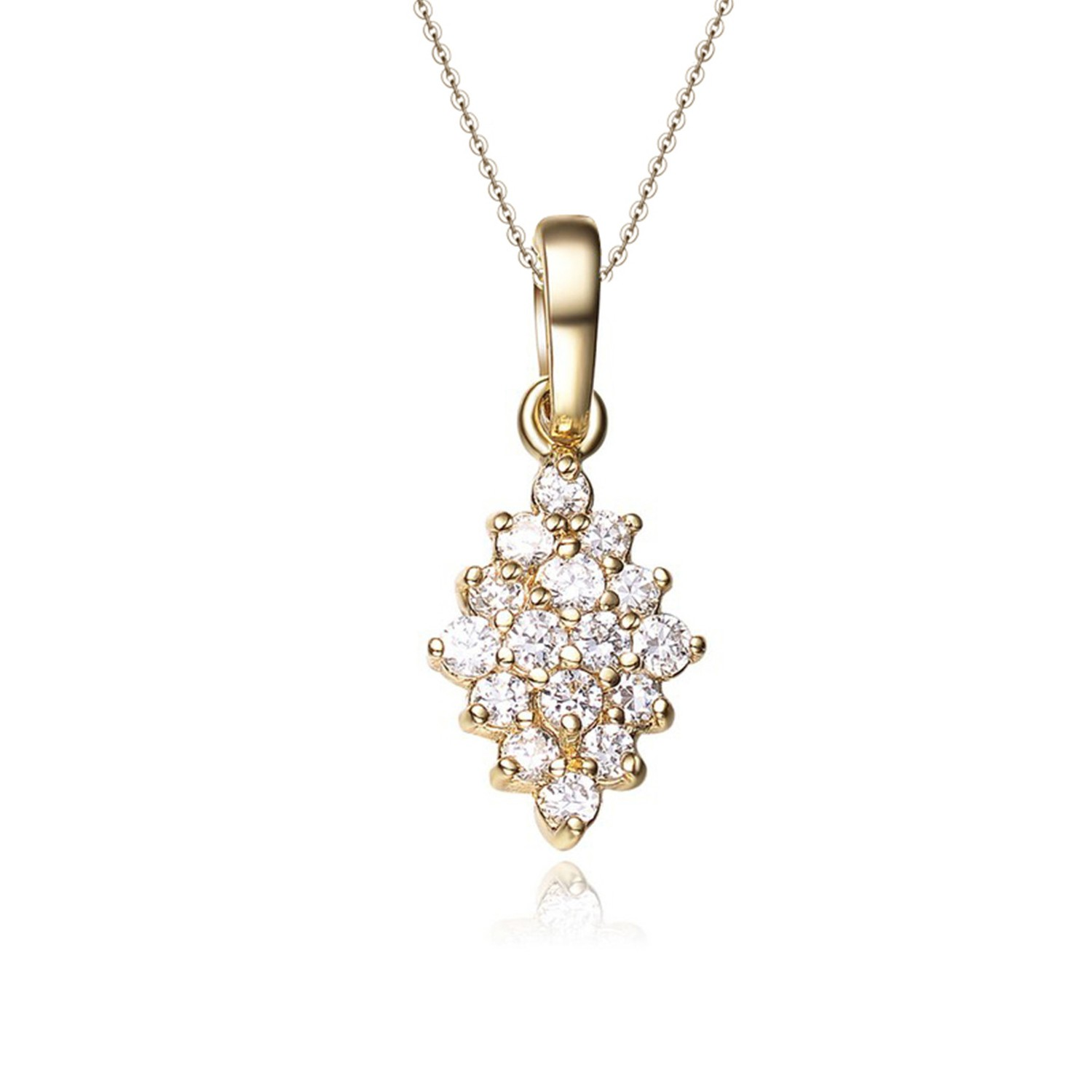 Dainty 925 silver gold plated pendant necklace women jewelry elegant necklace with cubic zirconia
