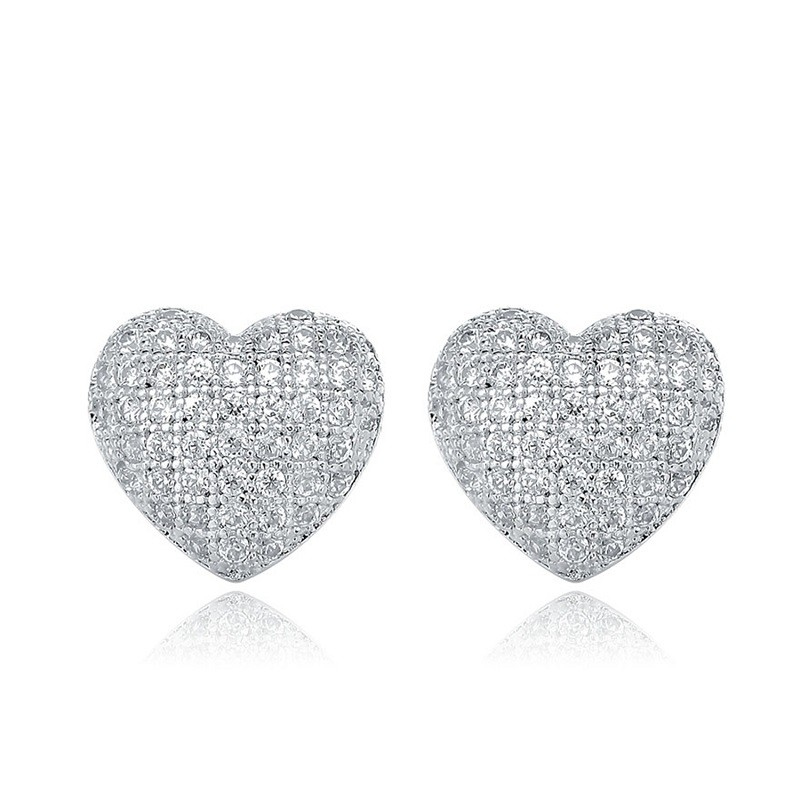 Elegant classic 925 sterling silver heart shape studs earrings jewelry for women