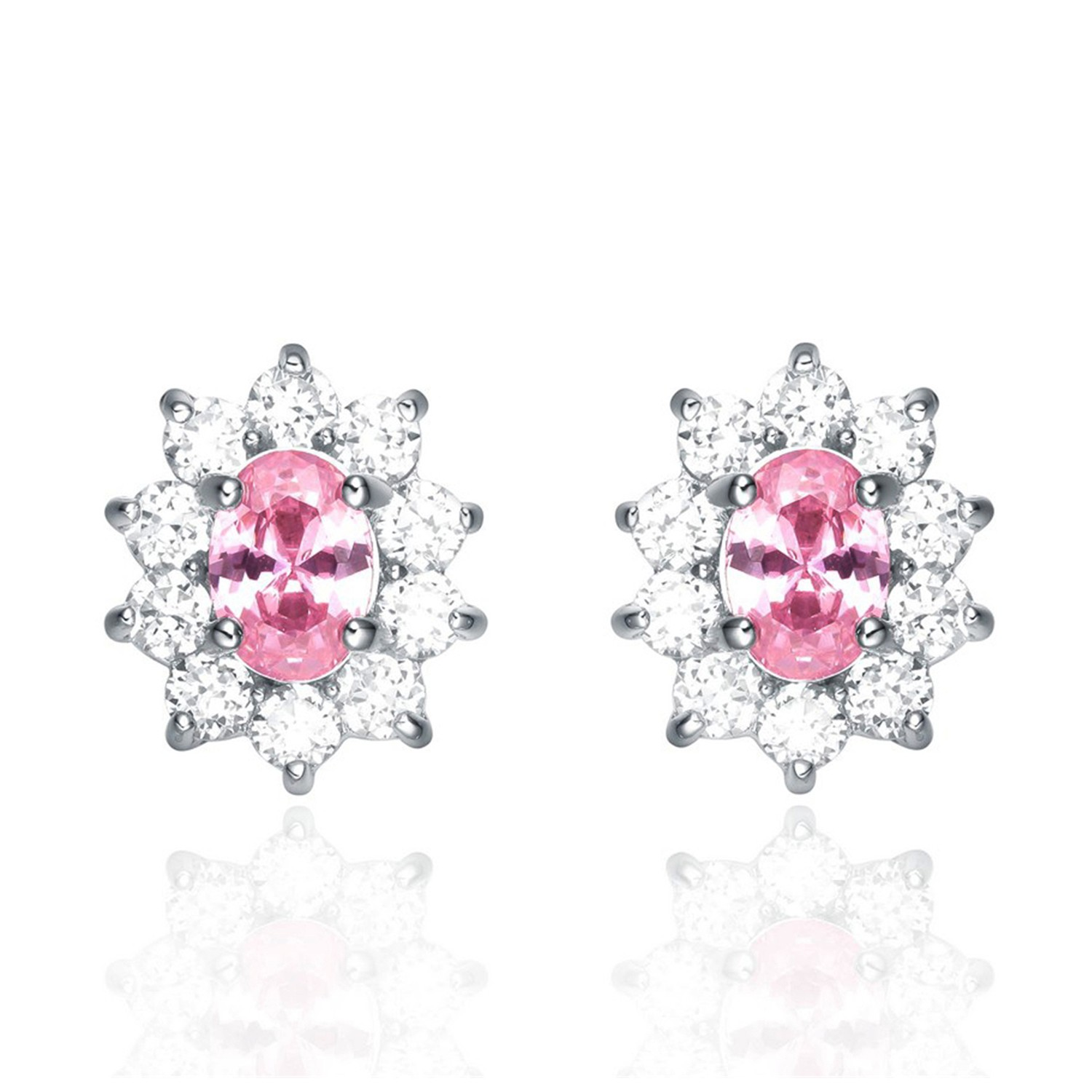 Pink CZ Stud Earrings Flower 925 Sterling Silver Women Bling Jewelry