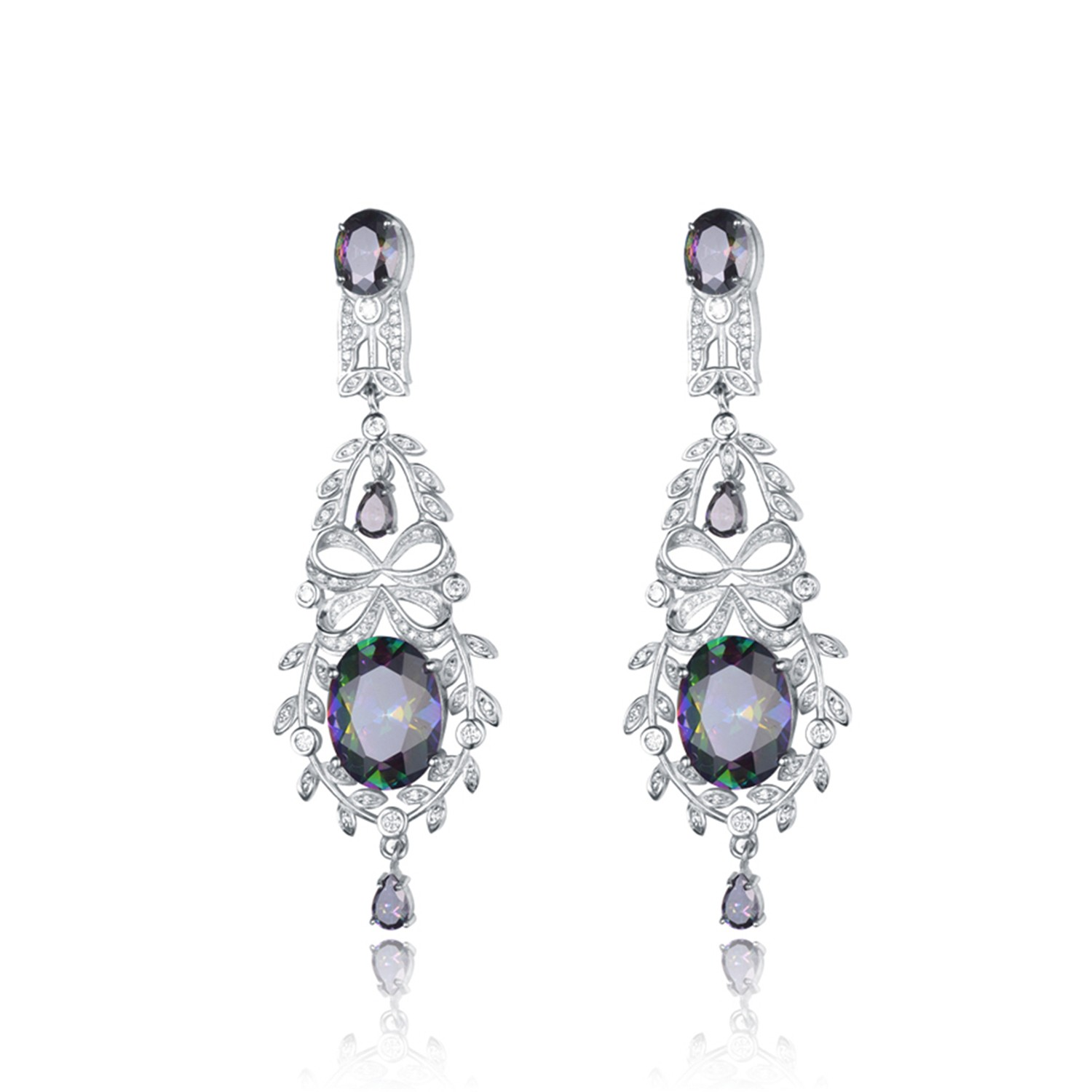 Cubic Zirconia jewelry silver plated earrings women hot sale drop earrings