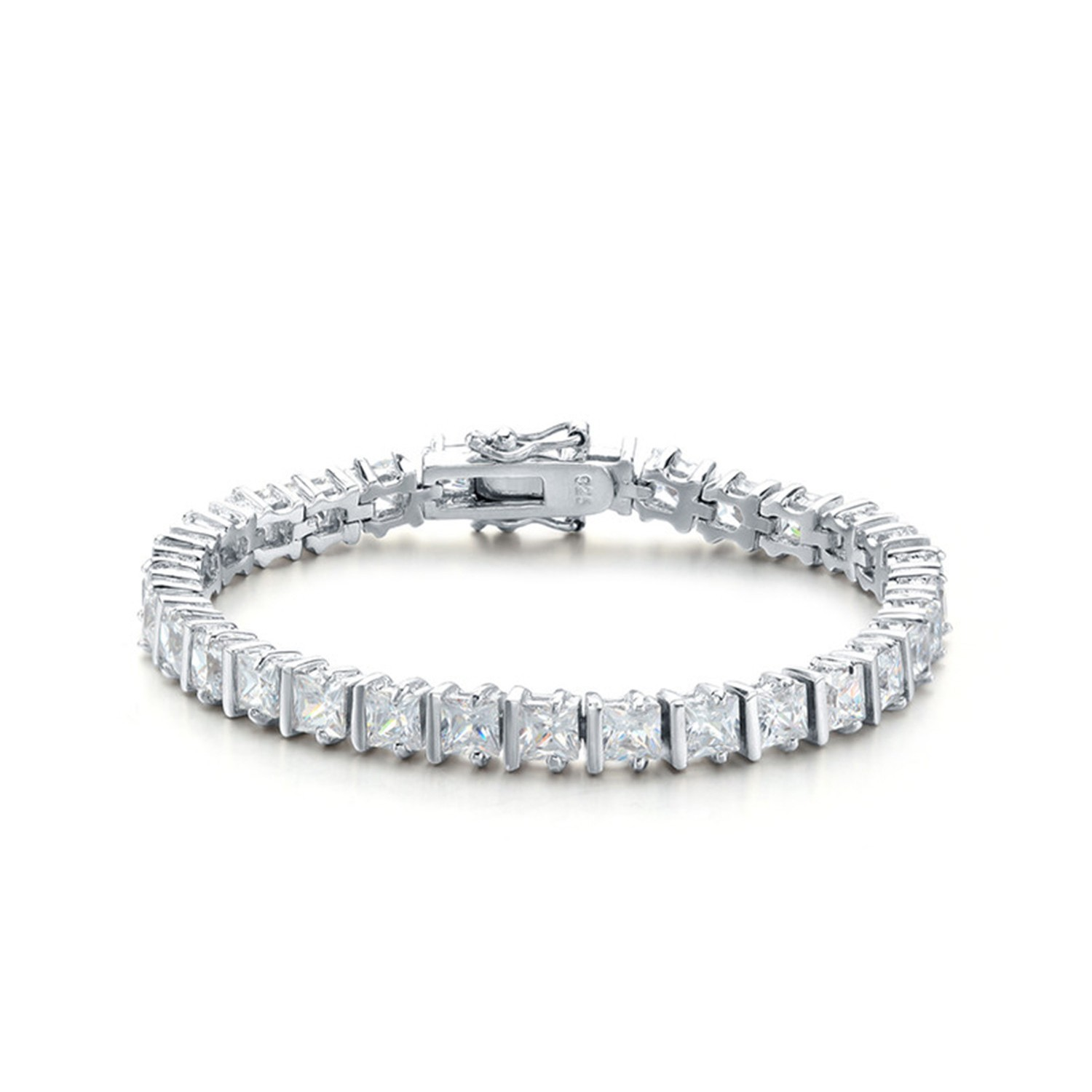 Classic Trendy 925 Sterling Silver White Bangle Cubic Zirconia Bracelets Jewelry Women