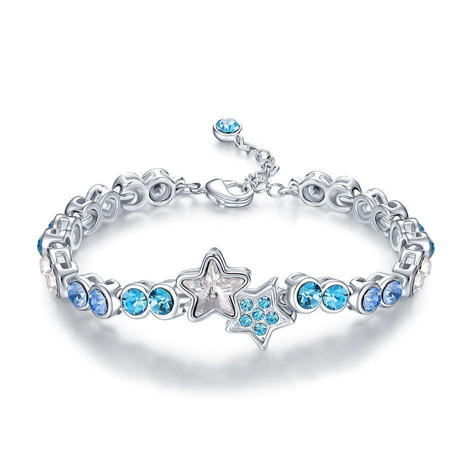 Star Pentagram Blue cz Stone 925 Sterling Silver Custom Bracelets Bangles Women Jewelry