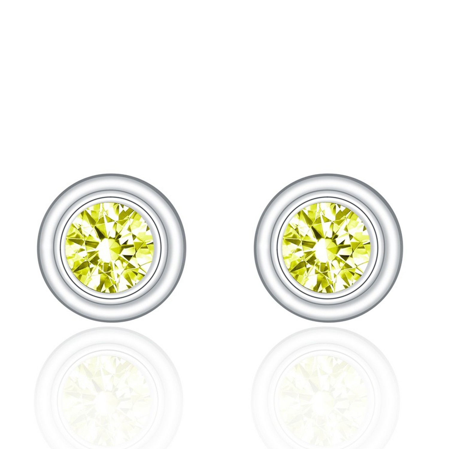 OEM&OEDM 925 sterling silver round yellow cubic zirconia stud earrings