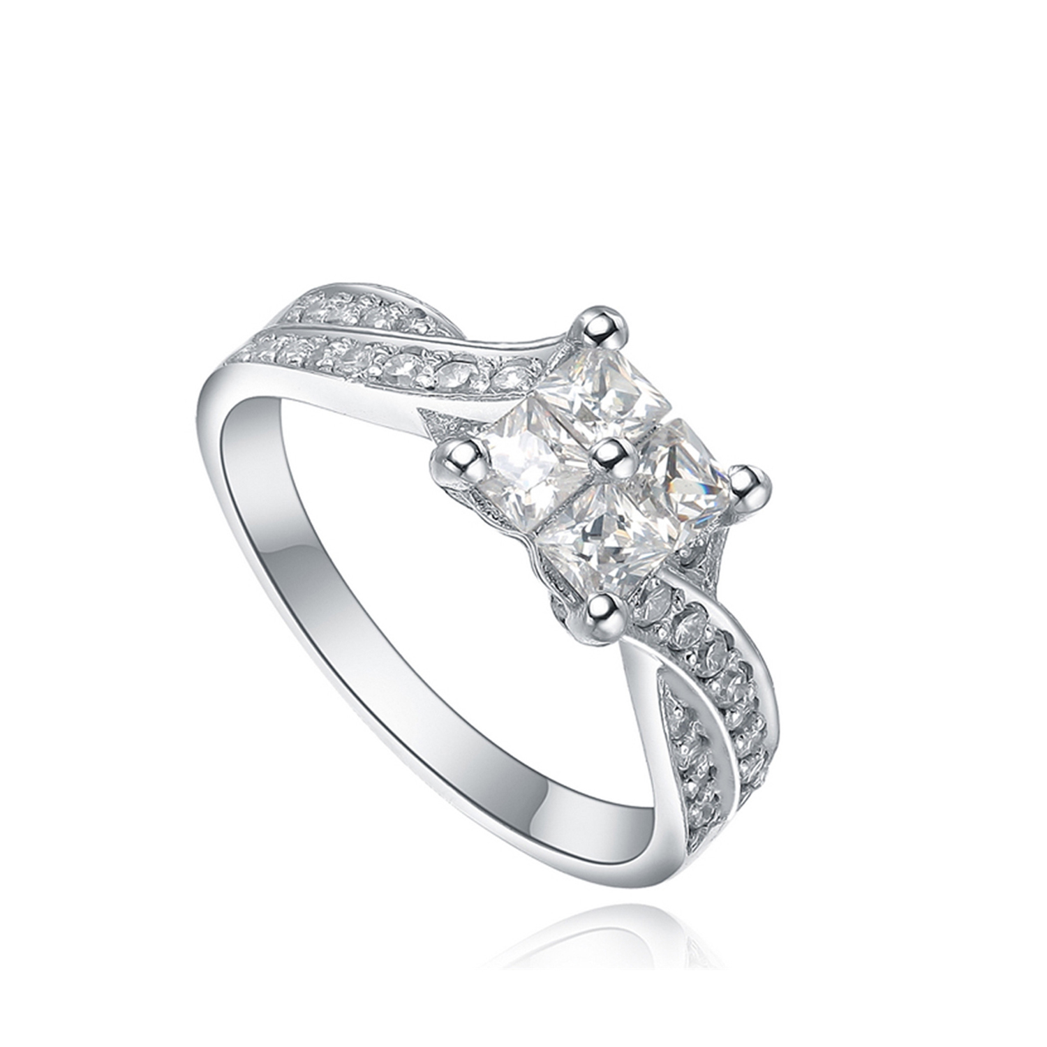 custom eternity wedding engagement silver finger ring square design for women