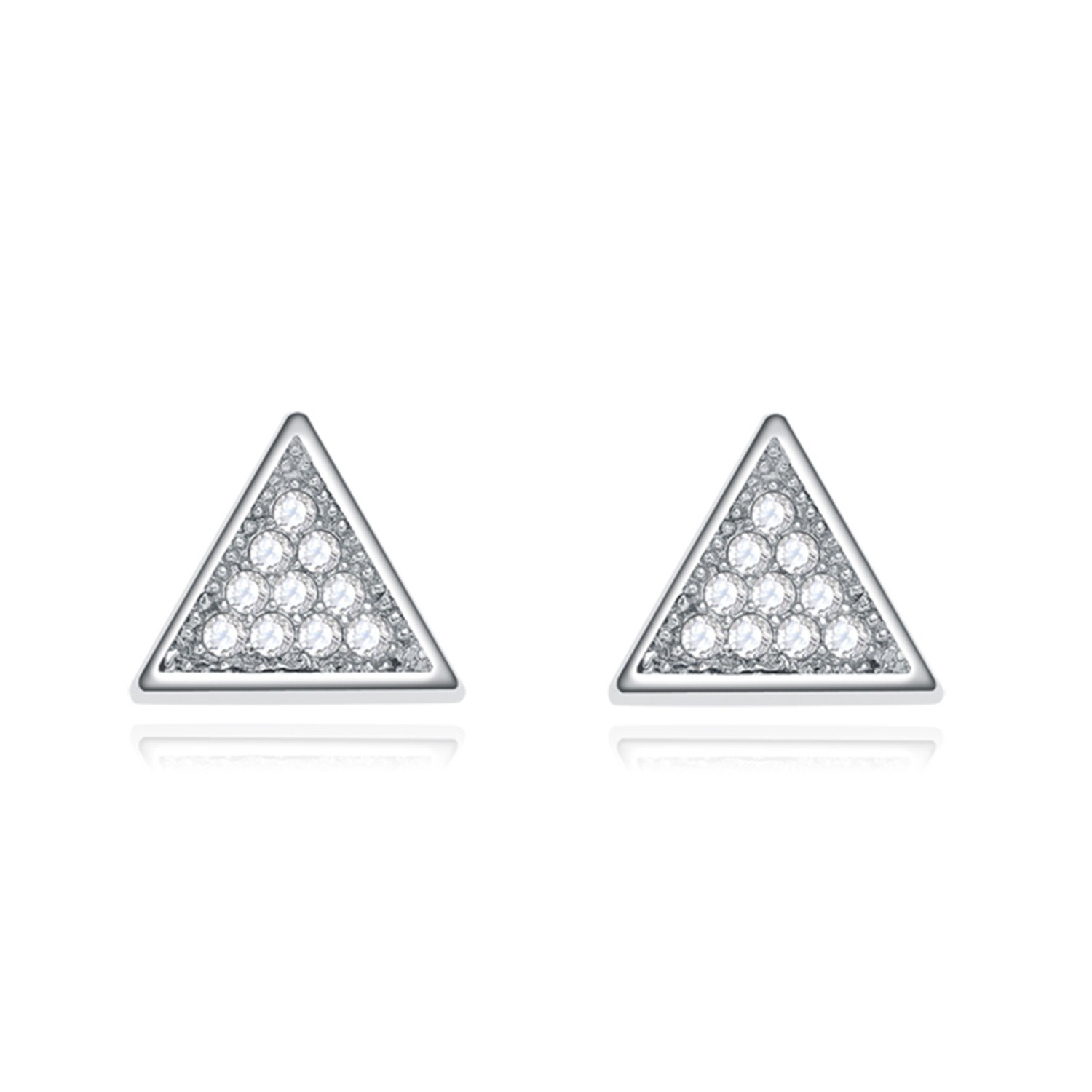 Popular High Quality Triangle Cz Stud Bridal 925 Silver Women Earrings