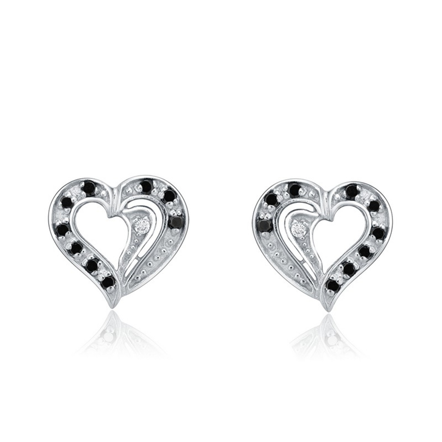 Fashionable Trendy 925 Sterling Silver Heart Shape White And Black CZ Stud Earrings