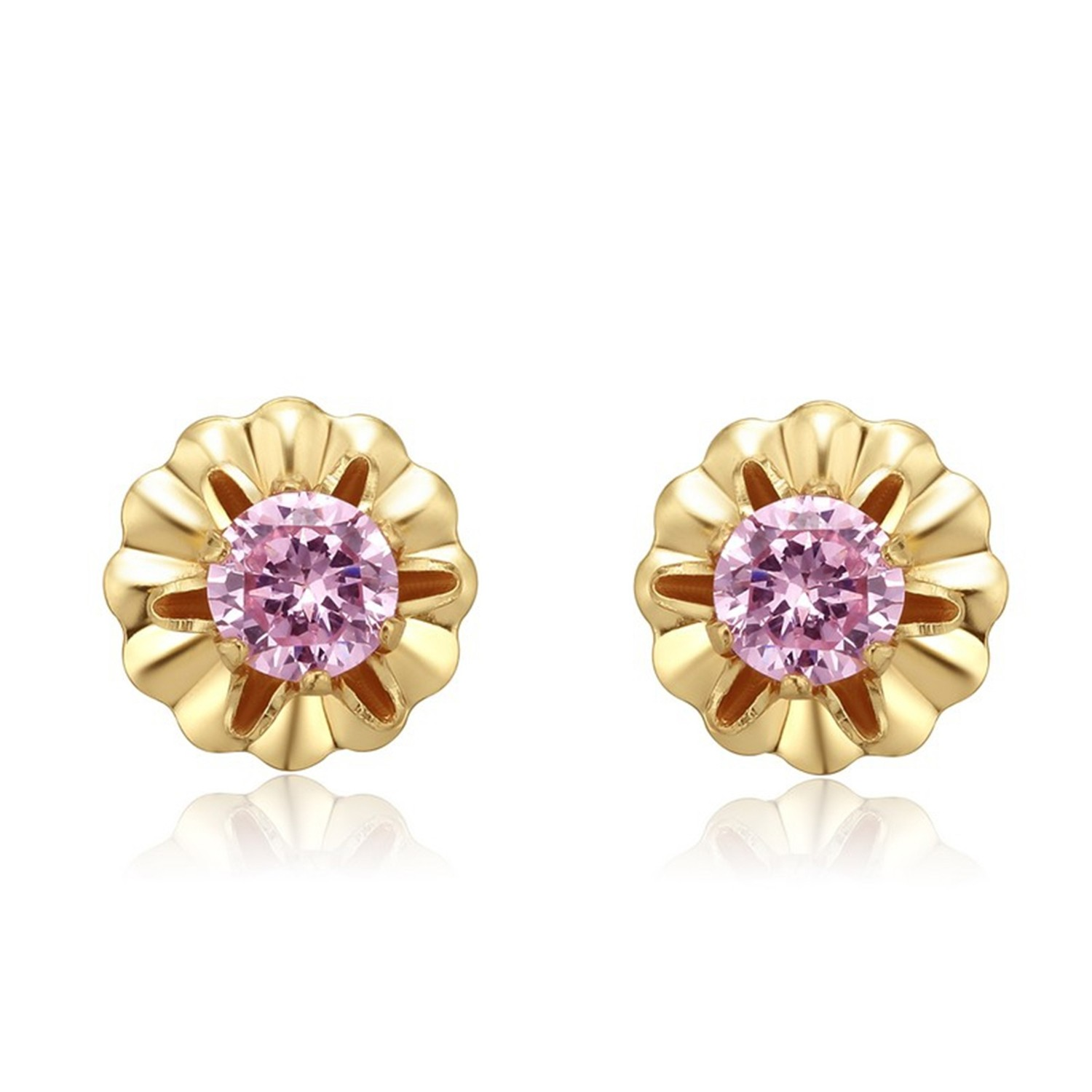 Gold Plated Pink CZ Stone High Quality Factory Women 925 Silver Jewelry